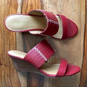 Nine West Red Wedge Slides Slip On Sandals